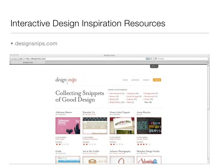 Interactive Design Inspiration Resources  • designsnips.com