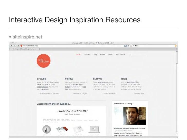 Interactive Design Inspiration Resources  • siteinspire.net