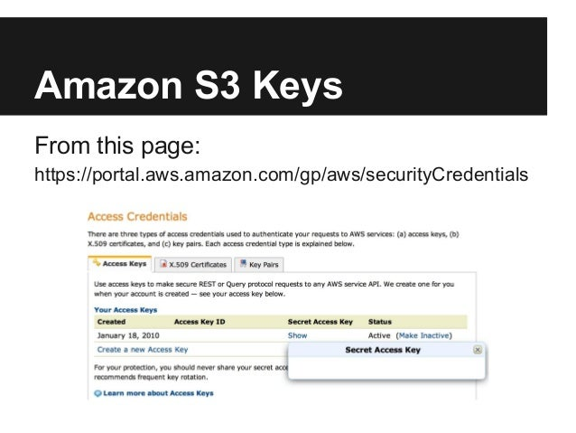 Amazon S3 KeysFrom this page:https://portal.aws.amazon.com/gp/aws/securityCredentials