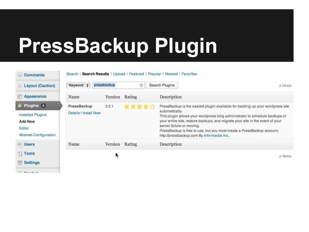 PressBackup Plugin