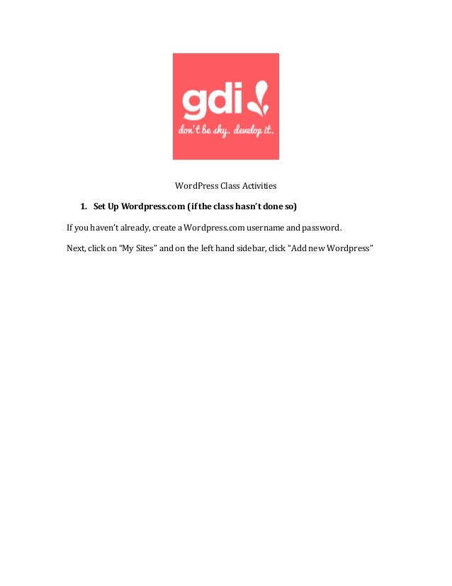 GDI WordPress Class Activities - 웹