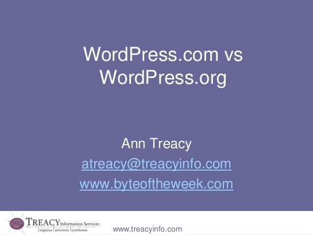 WordPress.com vs WordPress.org      Ann Treacyatreacy@treacyinfo.comwww.byteoftheweek.com    www.treacyinfo.com