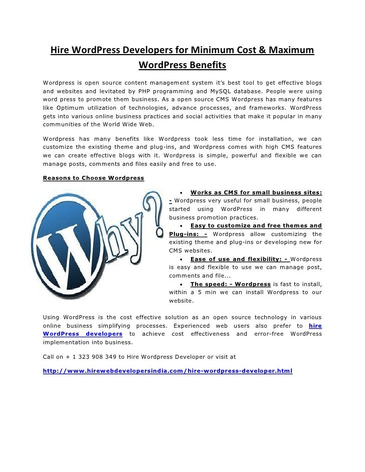 Hire WordPress Developers for Minimum Cost & Maximum                    WordPress BenefitsWordpress is open source content...