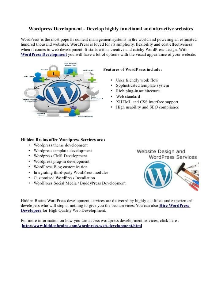 Wordpress Development - Develop highly functional and attractive websitesWordPress is the most popular content management ...