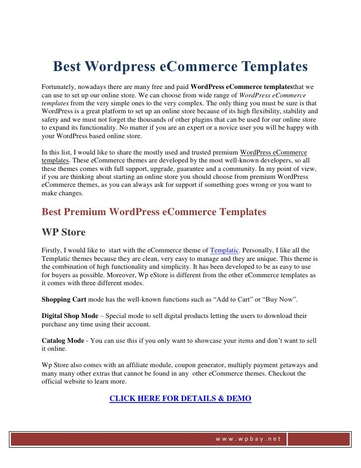 Best Wordpress eCommerce TemplatesFortunately, nowadays there are many free and paid WordPress eCommerce templatesthat wec...