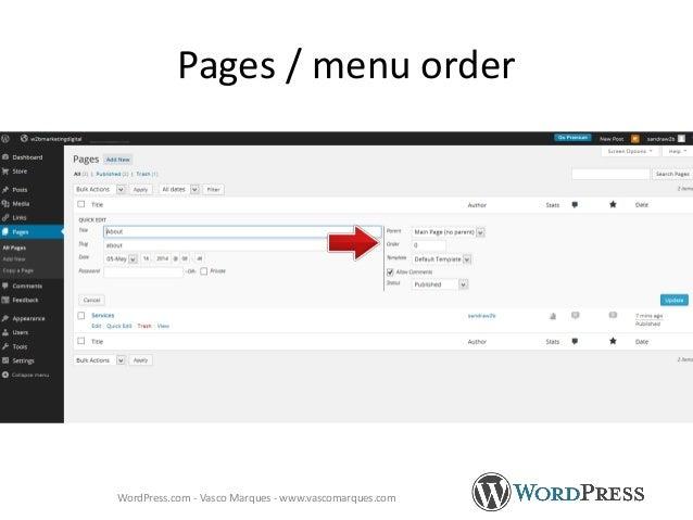Pages / menu order WordPress.com - Vasco Marques - www.vascomarques.com