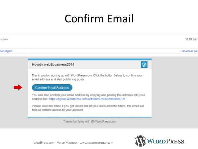 Confirm Email WordPress.com - Vasco Marques - www.vascomarques.com