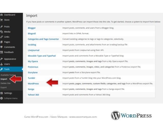 Exemplos de site http://redes-sociais.pt/ WordPress.com - Vasco Marques - www.vascomarques.com