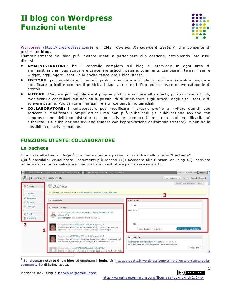 Wordpress funzioni utente-bevilacqua