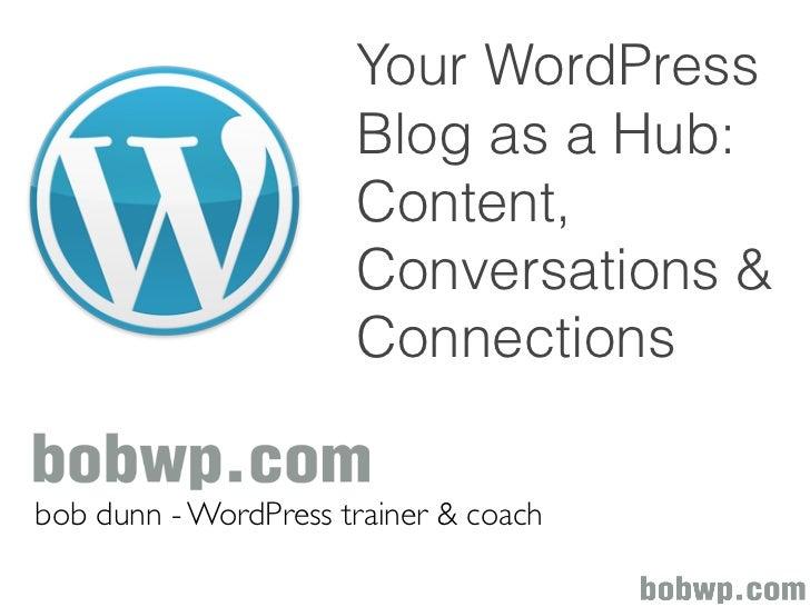 Your WordPress                      Blog as a Hub:                      Content,                      Conversations &     ...