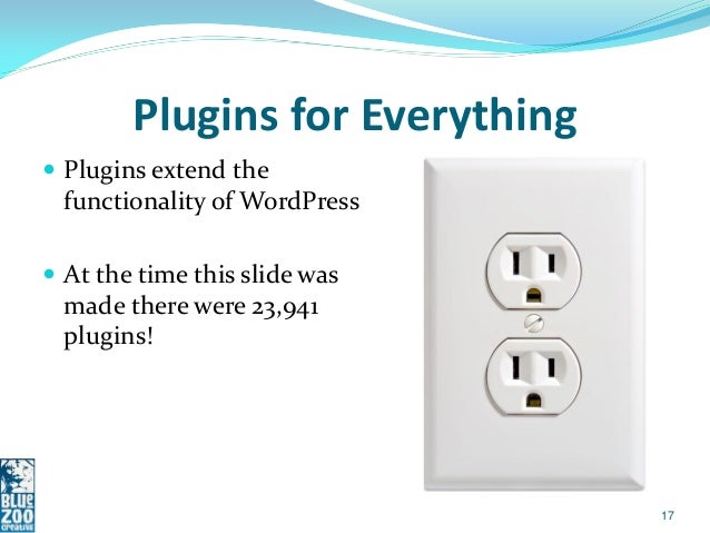 Plugins for Everything Plugins extend the  functionality of WordPress At the time this slide was  made there were 23,941...