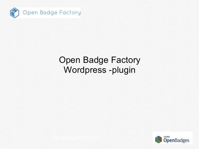 openbadgefactory.com Open Badge Factory Wordpress -plugin