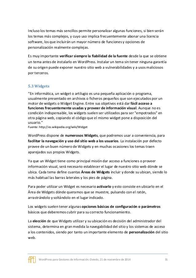 WordPress para Gestores de Información - Curso impartido para APEI