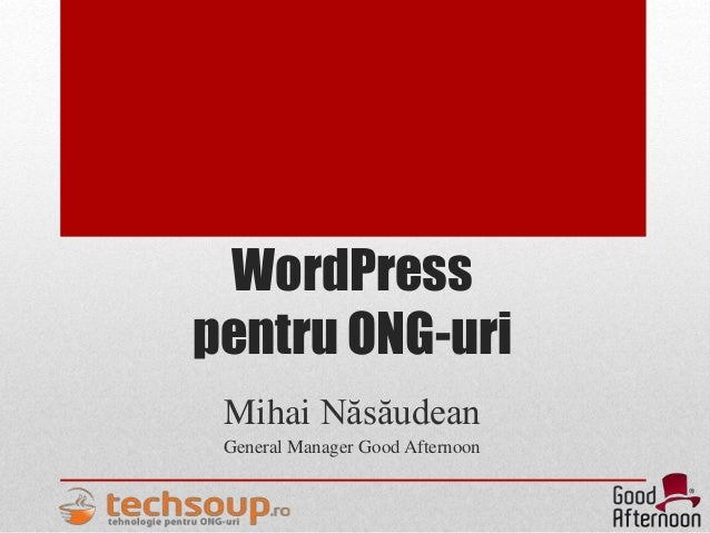 WordPress pentru ONG-uri Mihai Năsăudean General Manager Good Afternoon