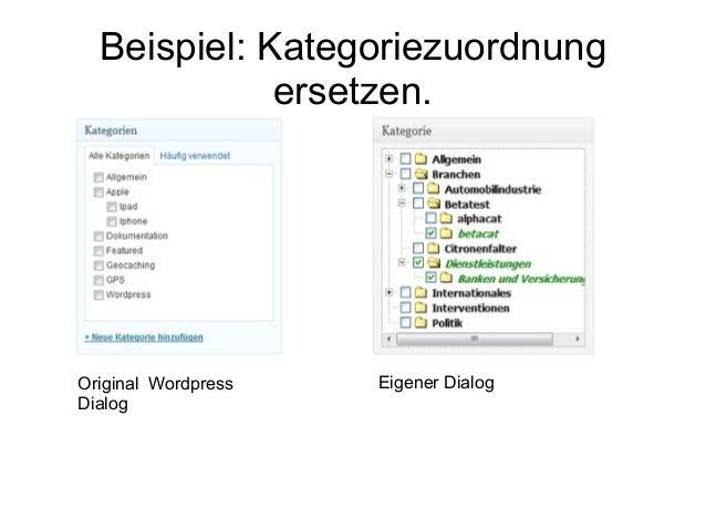 Beispiel: Kategoriezuordnung  ersetzen.  Original Wordpress  Dialog  Eigener Dialog