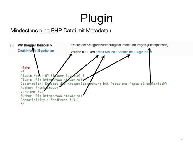 Plugin  Mindestens eine PHP Datei mit Metadaten  4