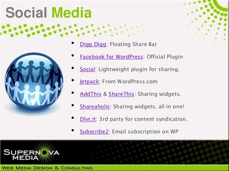 Social Media         •   Digg Digg: Floating Share Bar         •   Facebook for WordPress: Official Plugin         •   Soc...