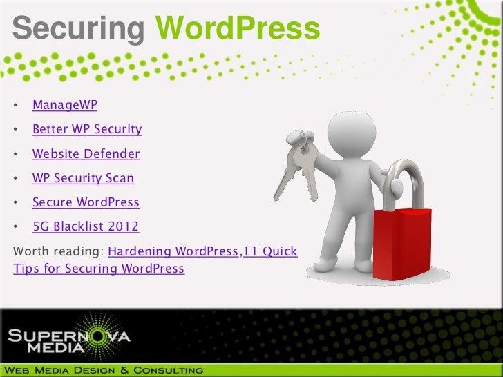 Securing WordPress•   ManageWP•   Better WP Security•   Website Defender•   WP Security Scan•   Secure WordPress•   5G Bla...