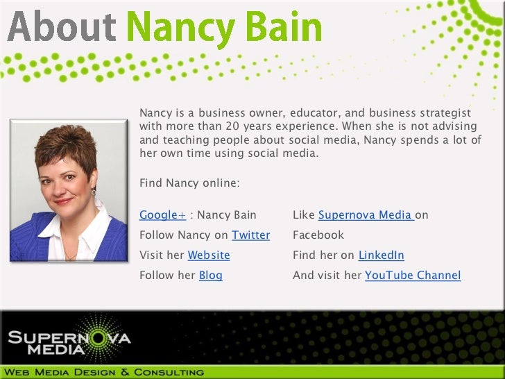 Nancy is a business owner, educator, and business strategistwith more than 20 years experience. When she is not advisingan...