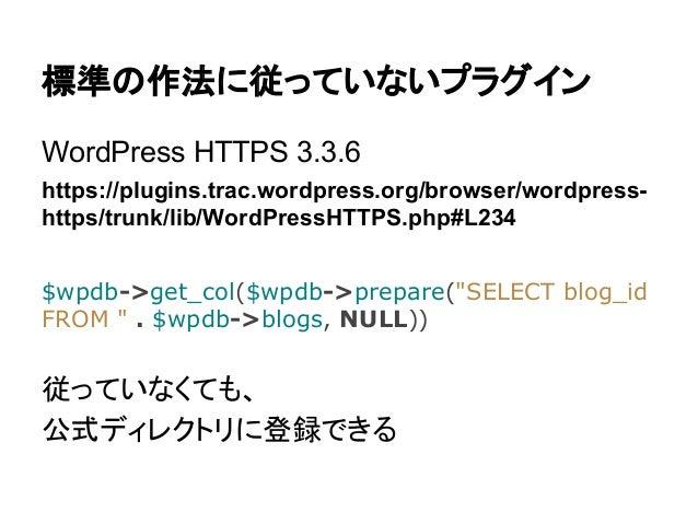 標準の作法に従っていないプラグイン WordPress HTTPS 3.3.6 https://plugins.trac.wordpress.org/browser/wordpresshttps/trunk/lib/WordPressHTTPS...
