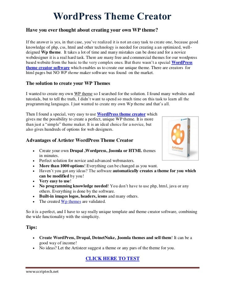 Wordpress Theme Creator - Build WP Themes Easily