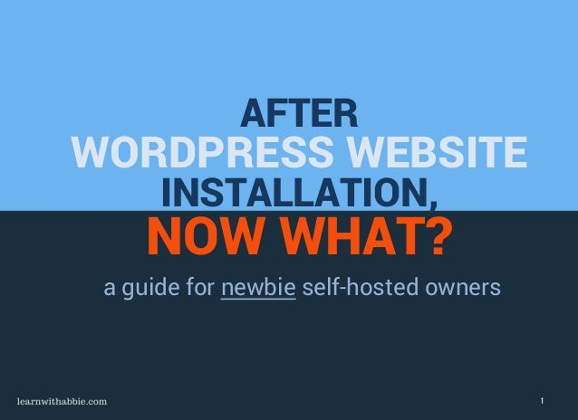 AFTER WORDPRESS WEBSITE INSTALLATION, NOW WHAT? a guide for newbie self-hosted owners 1