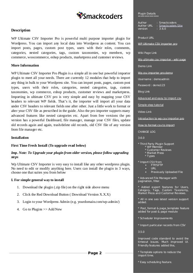 Wordpress Ultimate CSV Importer Pro Plugin Manual