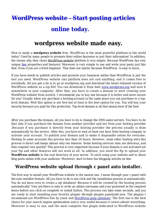 WordPress website - Start posting articles online today. wordpress website made easy. How to make a wordpress website free...