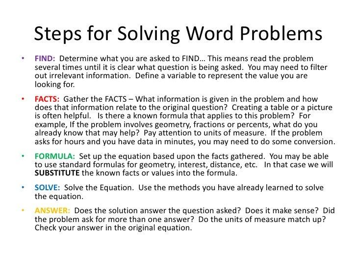 Word Problems in Algebra
