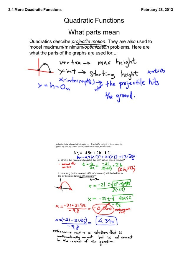 Words Problems and Quadratic Equations – Quadratic Function Word Problems Worksheet