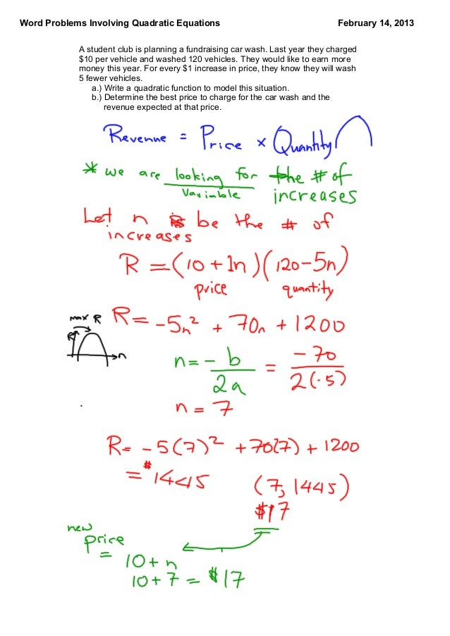 Word Problems with Quadratic Functions – Function Word Problems Worksheet