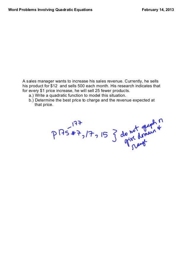 Word Problems with Quadratic Functions – Quadratic Function Word Problems Worksheet