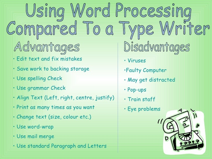 advantages of word processing over typewriter