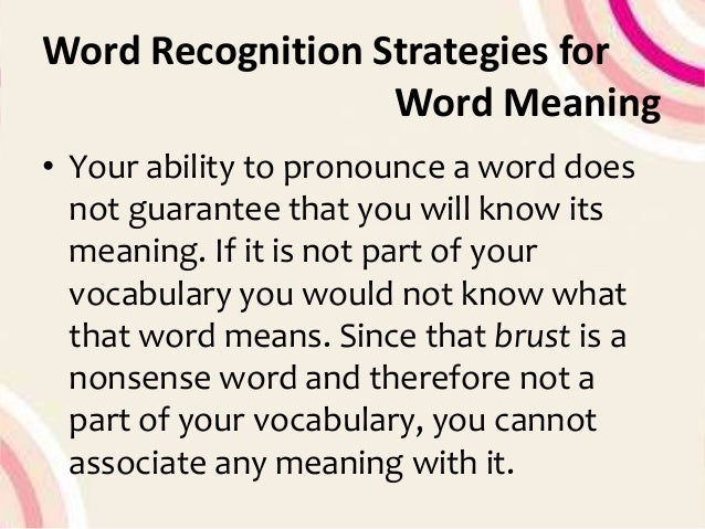 word of recognition