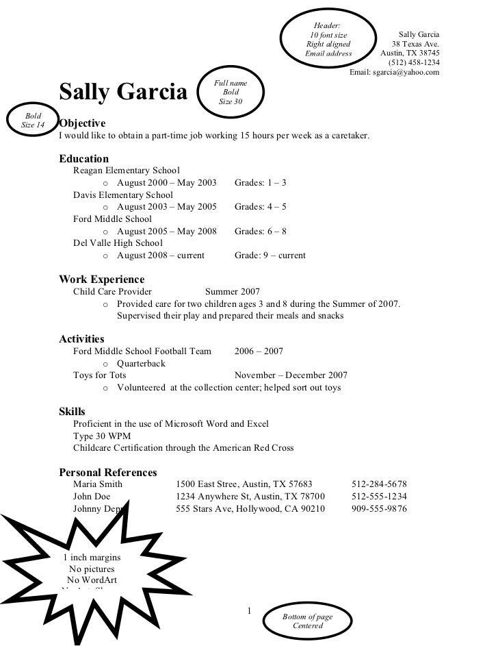 Word Resume Sample