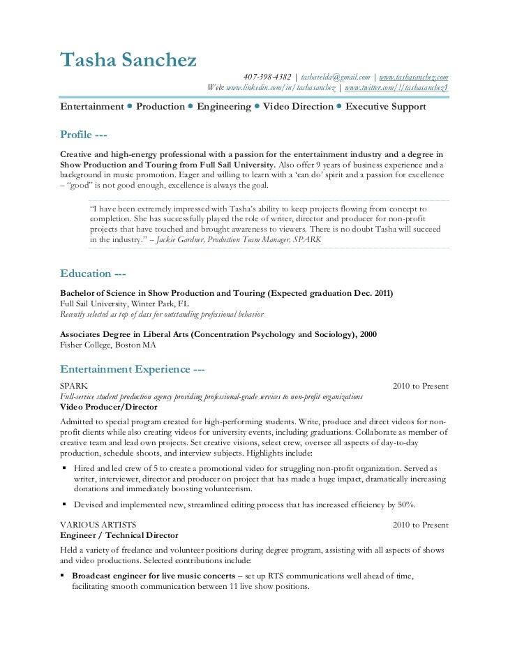 Resume for: Tasha Sanchez