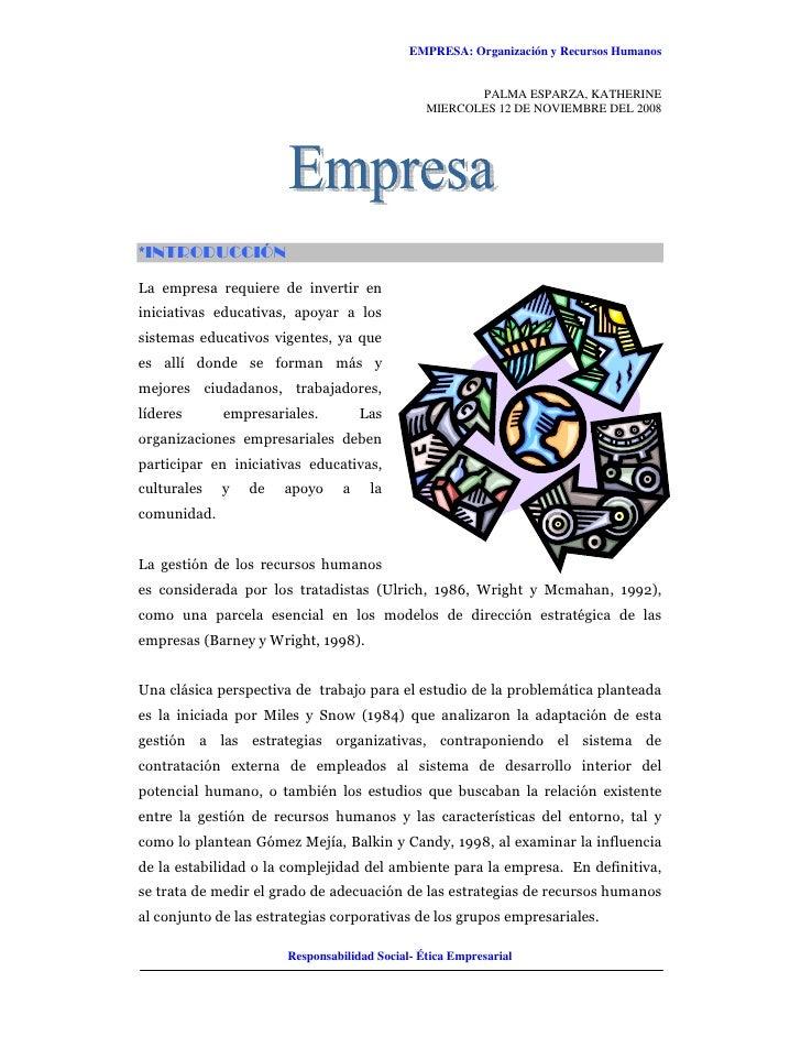 EMPRESA: Organización y Recursos Humanos                                                          PALMA ESPARZA, KATHERINE...