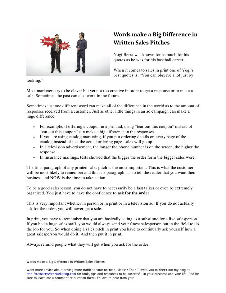 Words Make A Big Difference In Written Sales Pitches