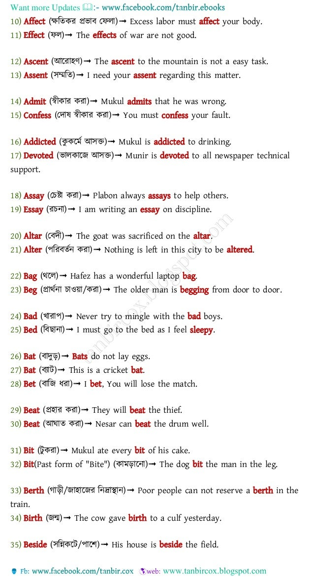 Words often confused with bangla meaning Slide 2