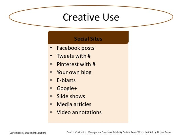 Creative Use Social Sites • • • • • • • • •  Customized Management Solutions  Facebook posts Tweets with # Pinterest with ...