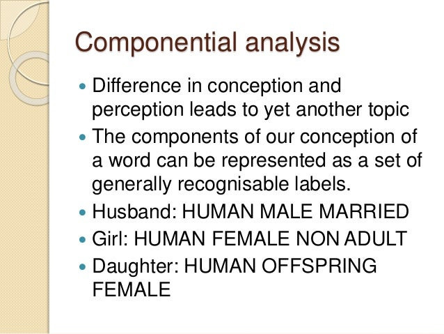 componential analysis and the study of Componential analysis is a method of formal analysis or of ethnographic description whose origin is usually traced to goodenough's article 'componential analysis and the study of meaning' (1956) its essence is the study of 'components', which are the basic building blocks of meaning in a.