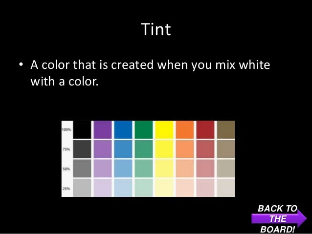 Tint• A color that is created when you mix white  with a color.                                         BACK TO           ...