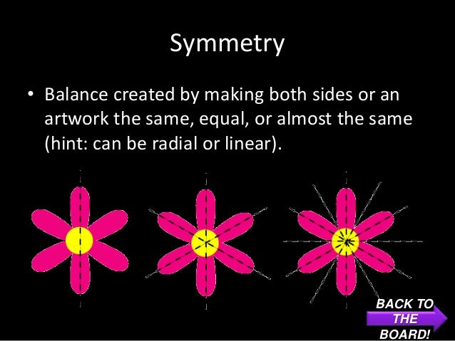 Symmetry• Balance created by making both sides or an  artwork the same, equal, or almost the same  (hint: can be radial or...