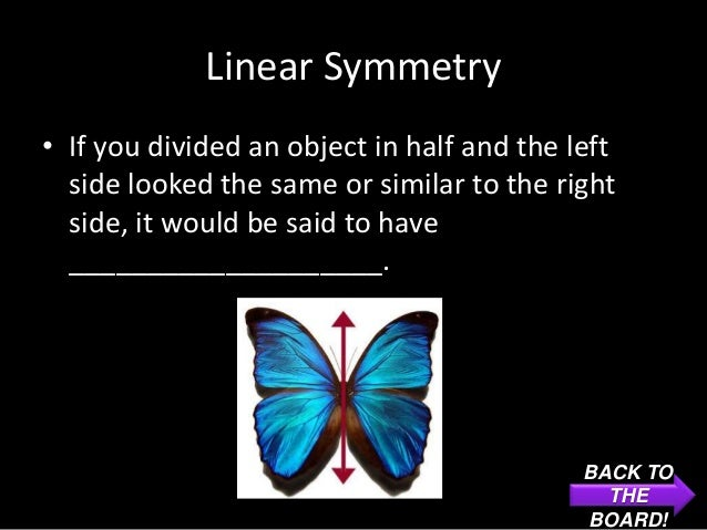 Linear Symmetry• If you divided an object in half and the left  side looked the same or similar to the right  side, it wou...