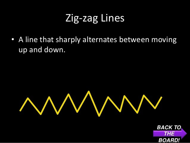 Zig-zag Lines• A line that sharply alternates between moving  up and down.                                         BACK TO...