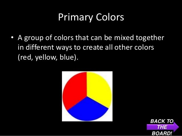 Primary Colors• A group of colors that can be mixed together  in different ways to create all other colors  (red, yellow, ...