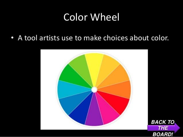 Color Wheel• A tool artists use to make choices about color.                                           BACK TO            ...