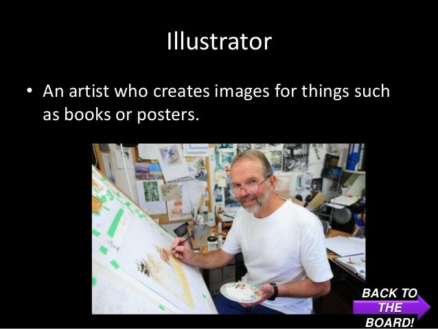 Illustrator• An artist who creates images for things such  as books or posters.                                          B...