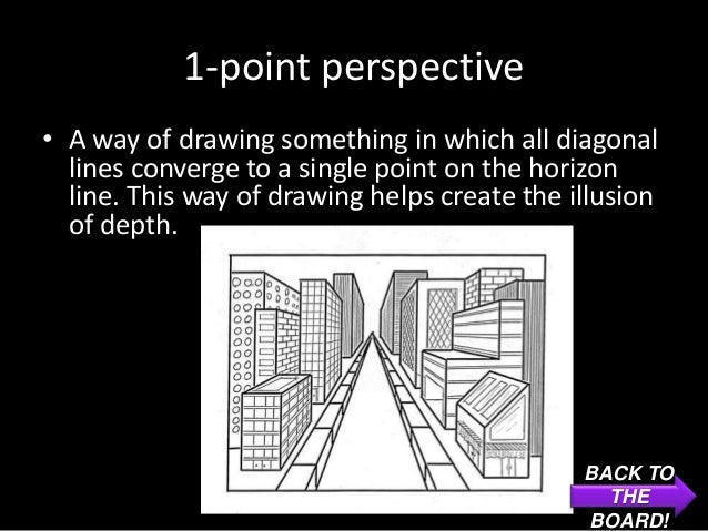1-point perspective• A way of drawing something in which all diagonal  lines converge to a single point on the horizon  li...