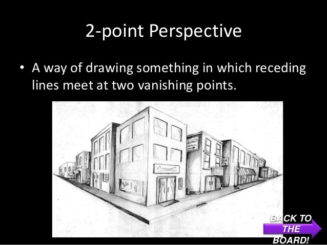 2-point Perspective• A way of drawing something in which receding  lines meet at two vanishing points.                    ...